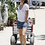Rachel Bilson looked cool and casual in a white t-shirt and shorts.
