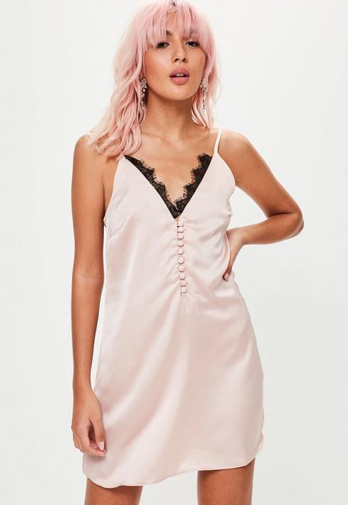 19be6037a1af5 Missguided Satin Lace Trim Button Up Slip Dress | Selena Gomez Coach ...