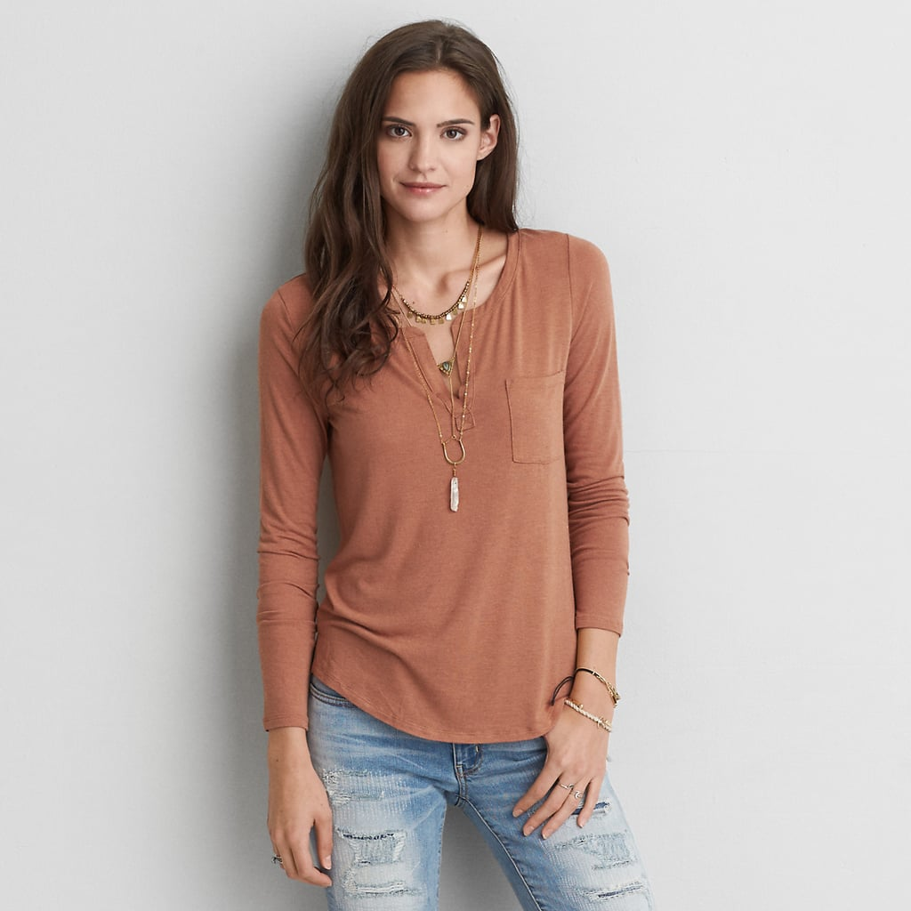 53051eb2 American Eagle Outfitters AE Henley Long Sleeve T-Shirt ($30) | Long ...