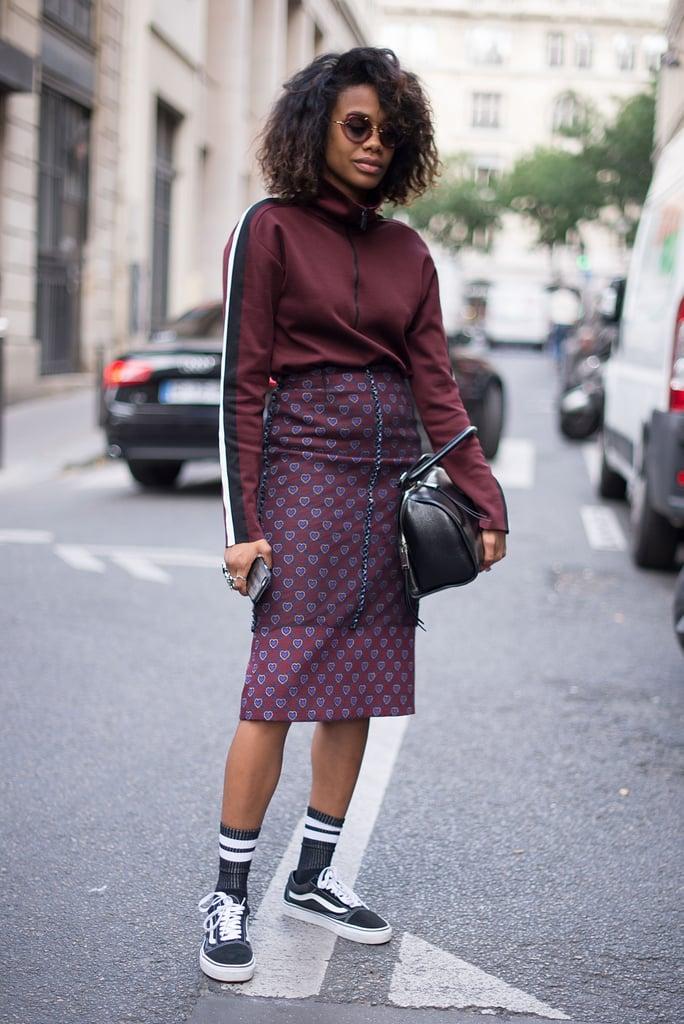 With a Turtleneck, Matching Midi Skirt, and High Socks