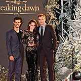 Kristen Stewart, along with costars Taylor Lautner and Robert Pattinson, stepped out for the Breaking Dawn Part 2 premiere in London. Following suit on her revealing nude Zuhair Murad gown in LA, she donned a black sequined lace Zuhair Murad Couture jumpsuit and black stiletto pumps.