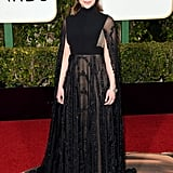 Emilia Clarke in a sheer Valentino Haute Couture gown