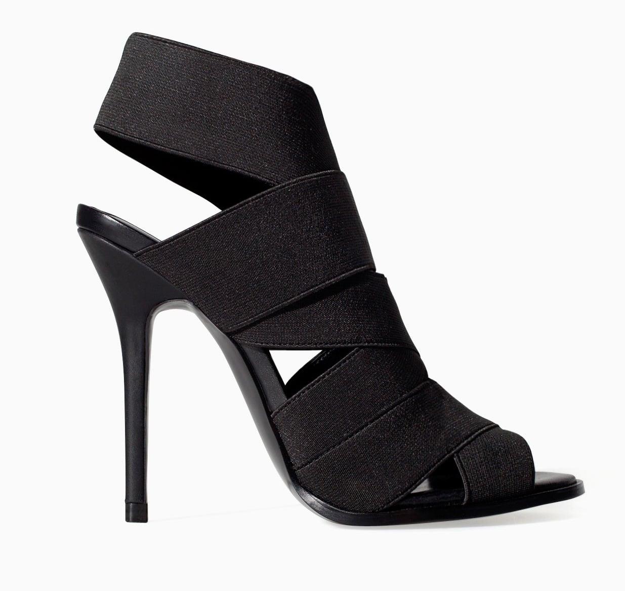 Zara black elastic band high heels