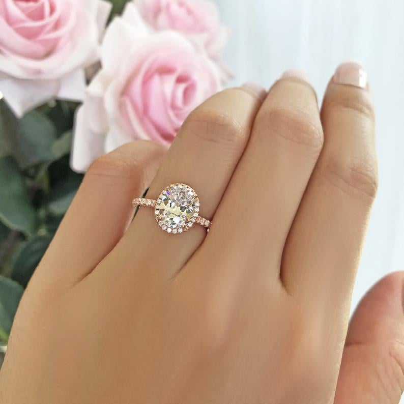 2.25 Carat Oval Halo Vintage-Style Engagement Ring With Man-Made Diamond Simulants