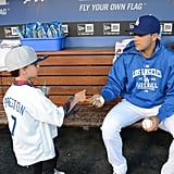 Sean Preston hung out with outfielder Andre Ethier.