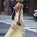 A Long, Slinky Slip Dress and Earrings