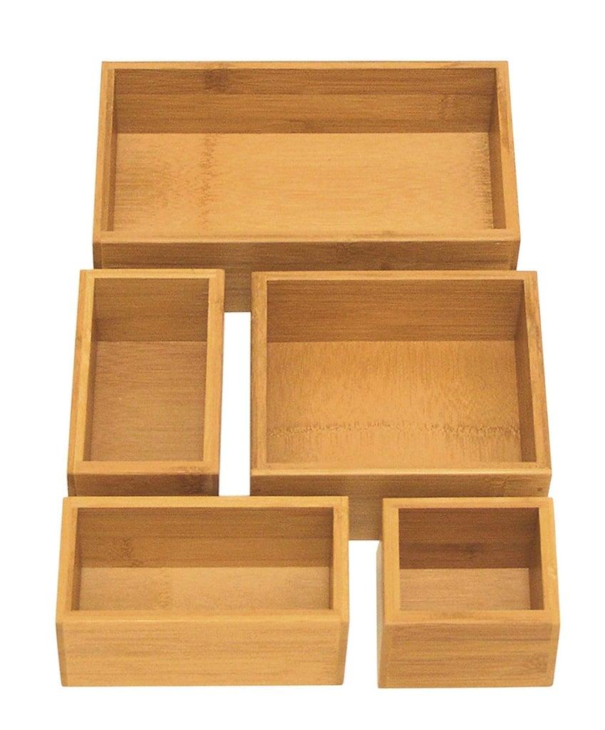 Seville Classics 5-Piece Bamboo Storage Box Set