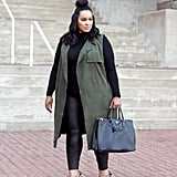 Use a Sleeveless Duster to Break Up Dark, Simple Winter Outfits