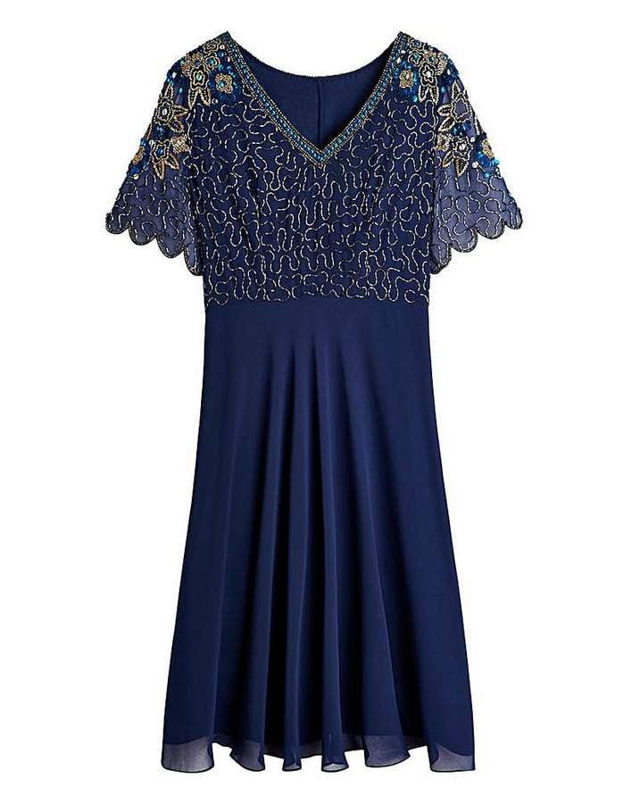 Marisota Scalloped Sleeve Sequin Skater Dress (£100)