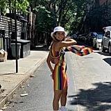 POPSUGAR Fashion Editor Sarah Wasilak wearing an H&M rainbow set, Kenneth Cole hat, and Urban Outfitters Pride socks.