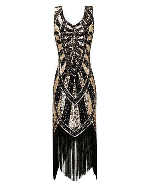 Metme 1920s Inspired Fringe Embellished Gatsby Flapper Midi Dress