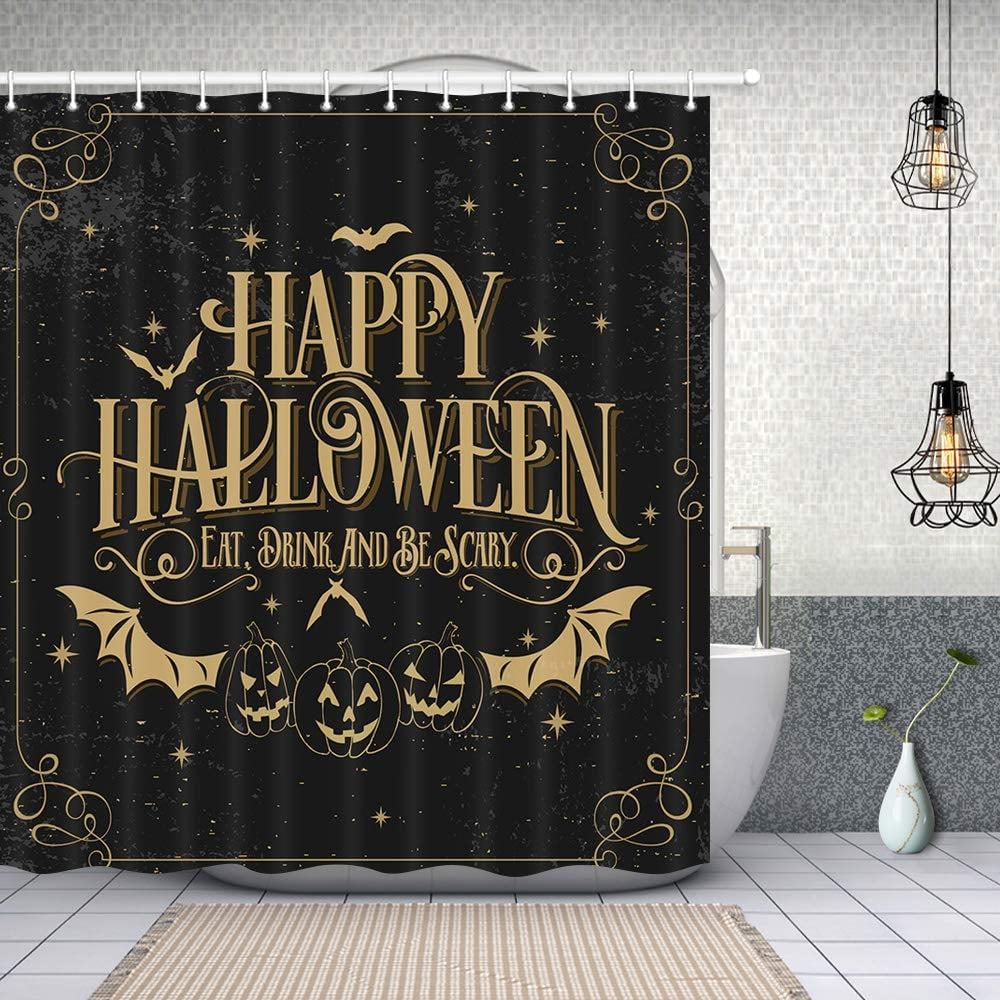 Happy Halloween Bat With Pumpkin Shower Curtain