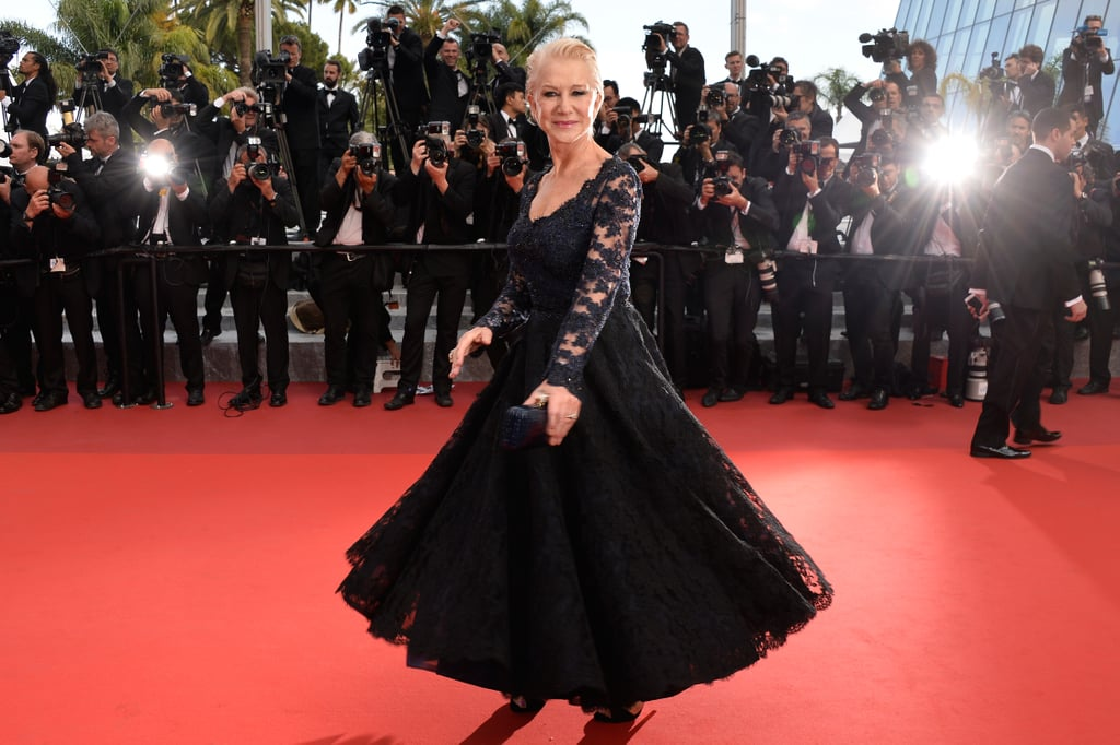 Helen Mirren dressed in all black for the debut of The Unknown Girl in 2016.