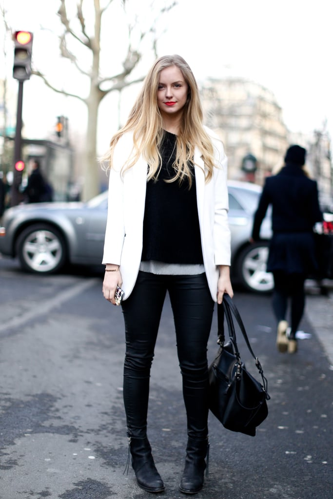 White and black added up to an understated chic ensemble.