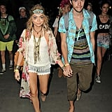 Sarah Hyland and boyfriend Matt Prokop stayed close.
