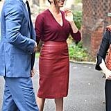 Meghan Markle's Hugo Boss Burgundy Leather Skirt