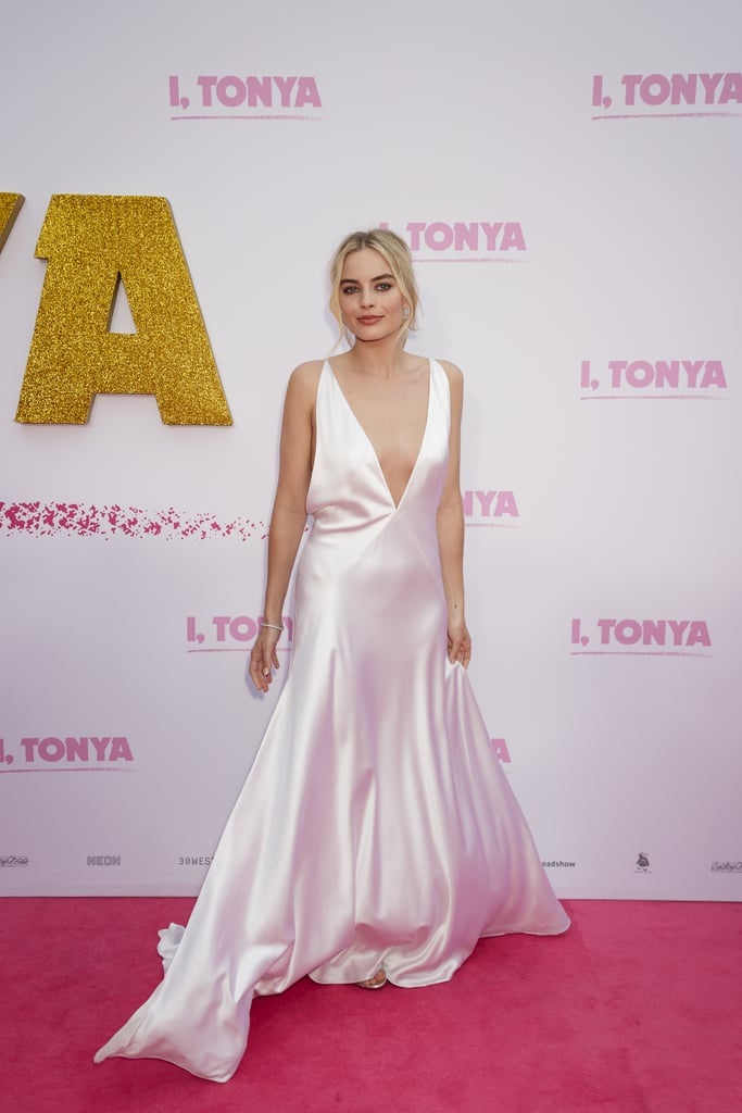 Margot looked completely glamorous and effortless in a Michael Lo Sordo silk slip at the premiere of I, Tonya in Australia in January 2018.