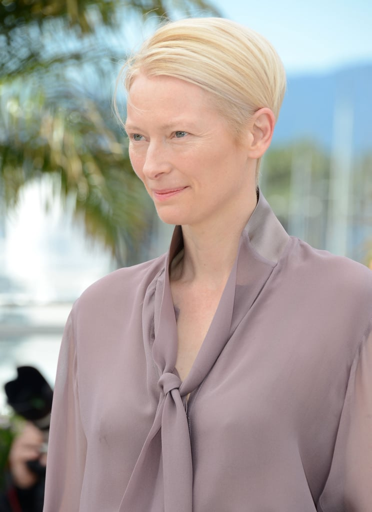Tilda Swinton opted for a fresh-faced look at the Moonrise Kingdom photocall.