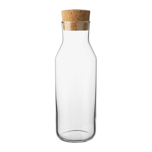 This graceful glass bottle ($4.49) does double duty as a vase or wine/water carafe.