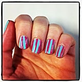Associate ed Alison tried the sticky tape mani — it only took her about two hours to pick her colours!