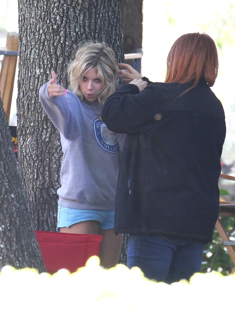Ashley Benson ran through her lines before filming.