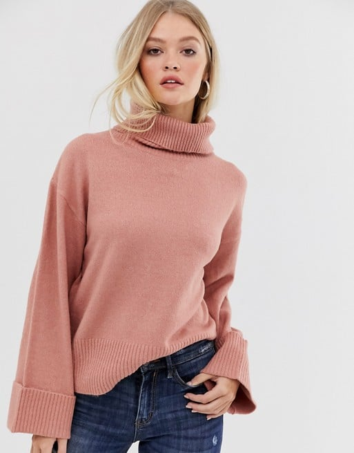 Vila Roll-Neck Sweater With Wide Cuff