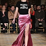 "At Christian Siriano, a Model Wore a Black Tee That Said, ""People Are People"""