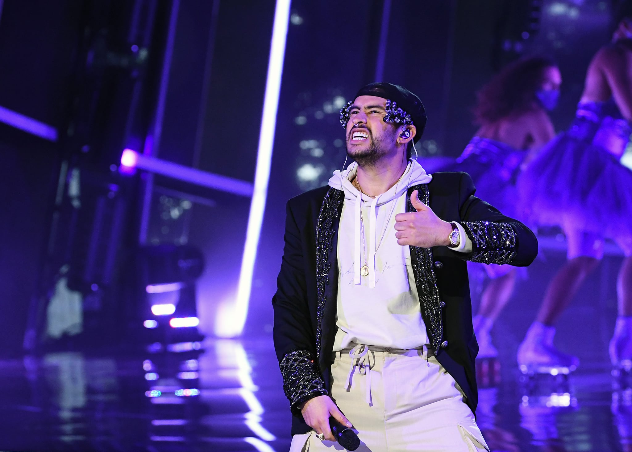 In this image released on October 13, Bad Bunny rehearses at the 2020 Billboard Music Awards, broadcast on October 14, 2020 at the Dolby Theatre in Los Angeles, CA.