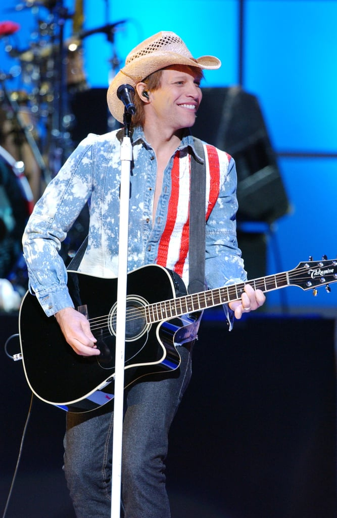 Jon Bon Jovi took the stage in NYC wearing red, white and blue in October 2001.