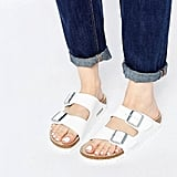 Birkenstock Arizona White Birko Flor Narrow Fit Flat Sandals