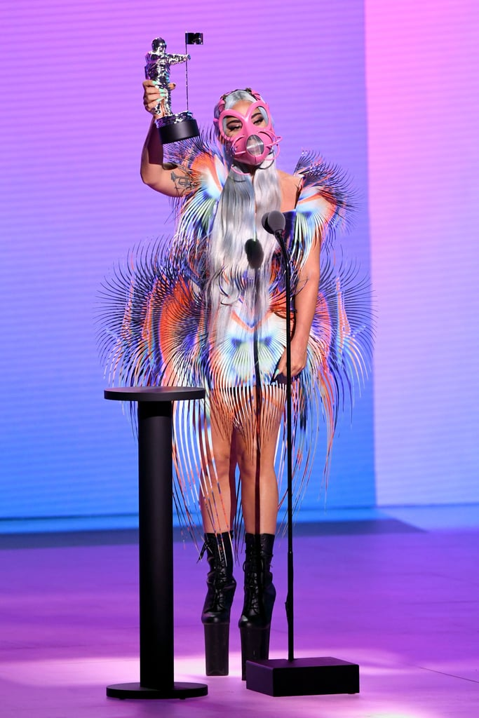"""Lady Gaga praised Ariana Grande in a heartfelt acceptance speech at the 2020 MTV Video Music Awards, and it suddenly feels as though it's raining on our cheeks. While wearing her second otherworldly outfit of the evening, the singer accepted the best collaboration award for her Chromatica song with Ariana, """"Rain on Me"""".   """"We turned our tears . . . into diamonds."""" """"This means the world. Ariana and I really connected through this song,"""" Gaga said. """"Me and Ariana are truly soul sisters. Girl, this is for us. We've both been through some sh*t together, but we were willing to share that with each other, and Ari, I love you. I feel like when we were both in the studio, we turned our tears, that felt like endless rainfall, into diamonds. I will treasure those diamonds with you forever, honey."""" Watch the sweet speech ahead.       Related:                                                                                                           Lady Gaga Brought Major Moon Person Energy to the VMAs, and We Need Space to Take It In"""
