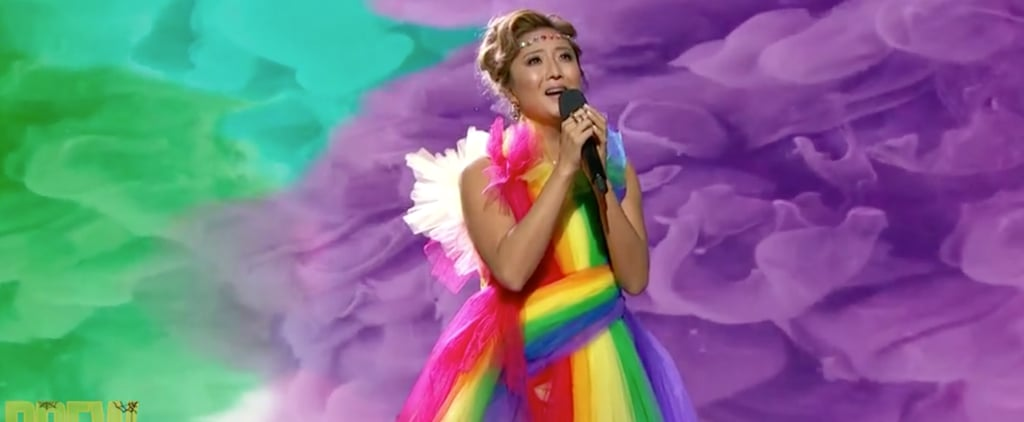 Ashley Park's Rainbow Gown on The Drew Barrymore Show