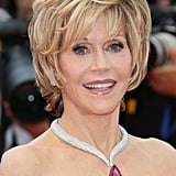 Jane Fonda wore a dramatic Chopard diamond necklace.