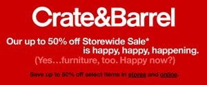 Sale Alert: Crate and Barrel Storewide Sale