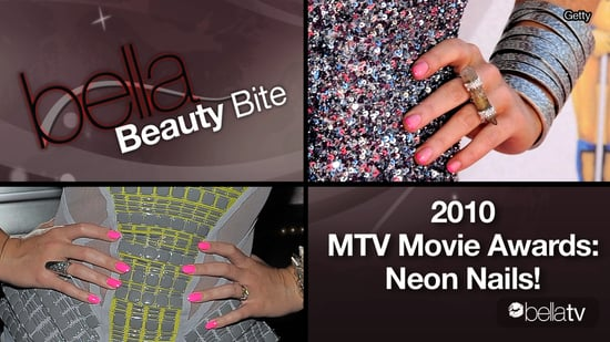 Neon Nail Trend: Seen on Kristen Stewart, Katy Perry, Lindsay Lohan at 2010 MTV Movie Awards