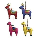 Jingle City Wood Reindeer/Llama Ornament Set