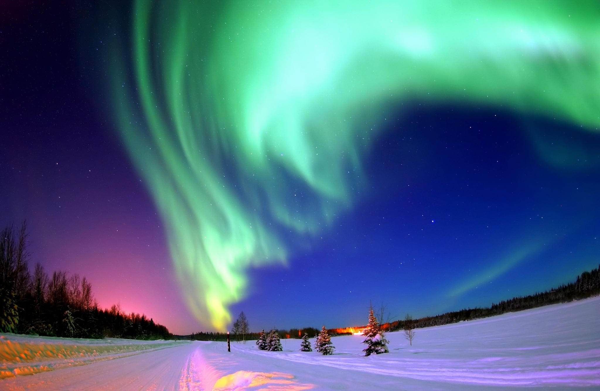 Photograph of the Northern Lights, also known as, an Aurora. An aurora is a natural light display in the sky, especially in the high latitude regions, caused by the collision of solar wind and magnetospheric charged particles with the high altitude atmosphere. Dated 2014 (Photo by:Universal History Archive/Universal Images Group via Getty Images)