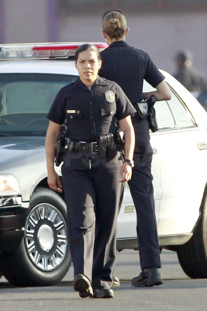 America Ferrera looked the part of a serious officer on the set in LA.