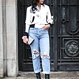 With a sporty bomber and wear-everywhere boots