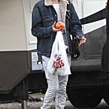 Kate Bosworth kept warm in Uggs and a denim jacket on set.