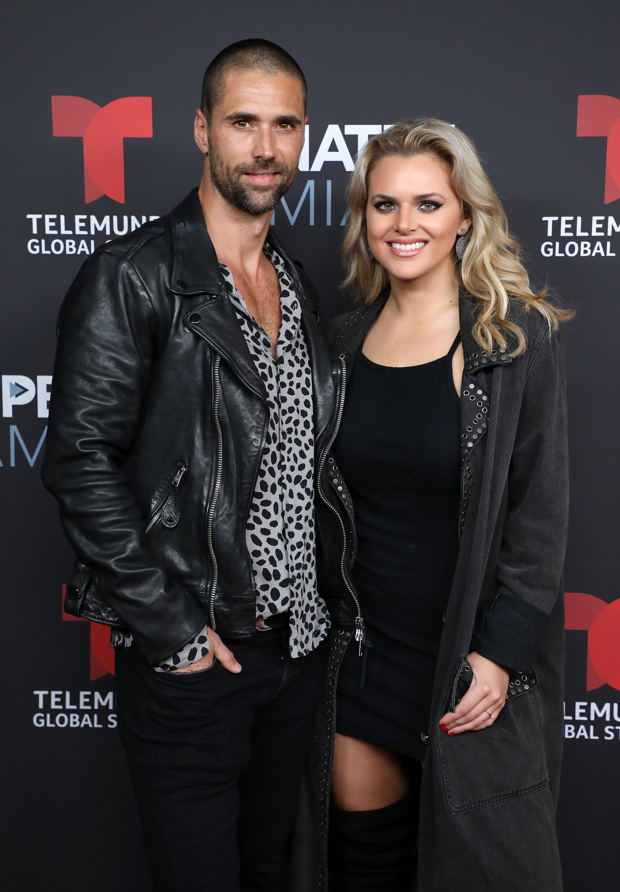 MIAMI BEACH, FL - JANUARY 22:  Matias Novoa and Isabella Castillo arrive at Telemundo Global Studios Celebration during NATPE Miami 2019 at the Eden Roc Hotel on January 22, 2019 in Miami Beach, Florida.  (Photo by Alexander Tamargo/Getty Images)