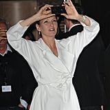 Uma Thurman took a picture on her iPhone before heading into Robert Cavalli's yacht party during the Cannes Film Festival on Wednesday.