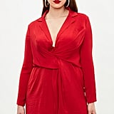 Missguided Curve Red Satin Wrap Dress