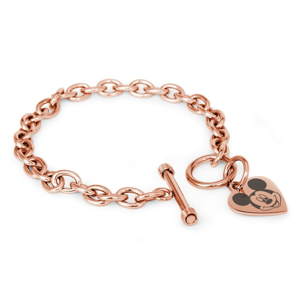 Tioneer Rose Gold Mickey Mouse Heart Charm Bracelet