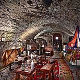 The wine-tasting cave is decorated in Johnny's unique and eclectic style.