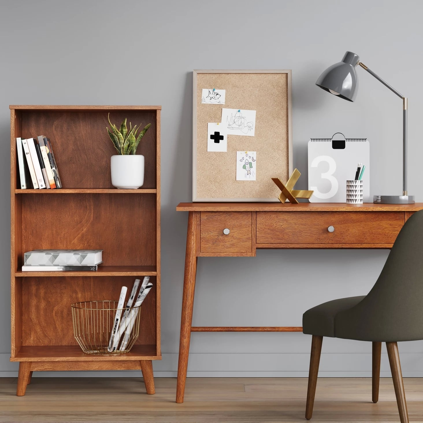 Amherst Midcentury Modern Three Shelf Bookcase Prepare