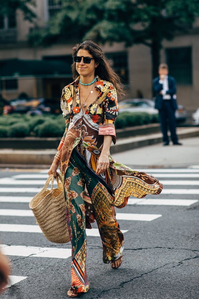 Opt for silky fabrics in standout prints and colors — then top with ample jewels.