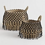 Natural Seagrass Maddie Tote Basket with Black Macrame