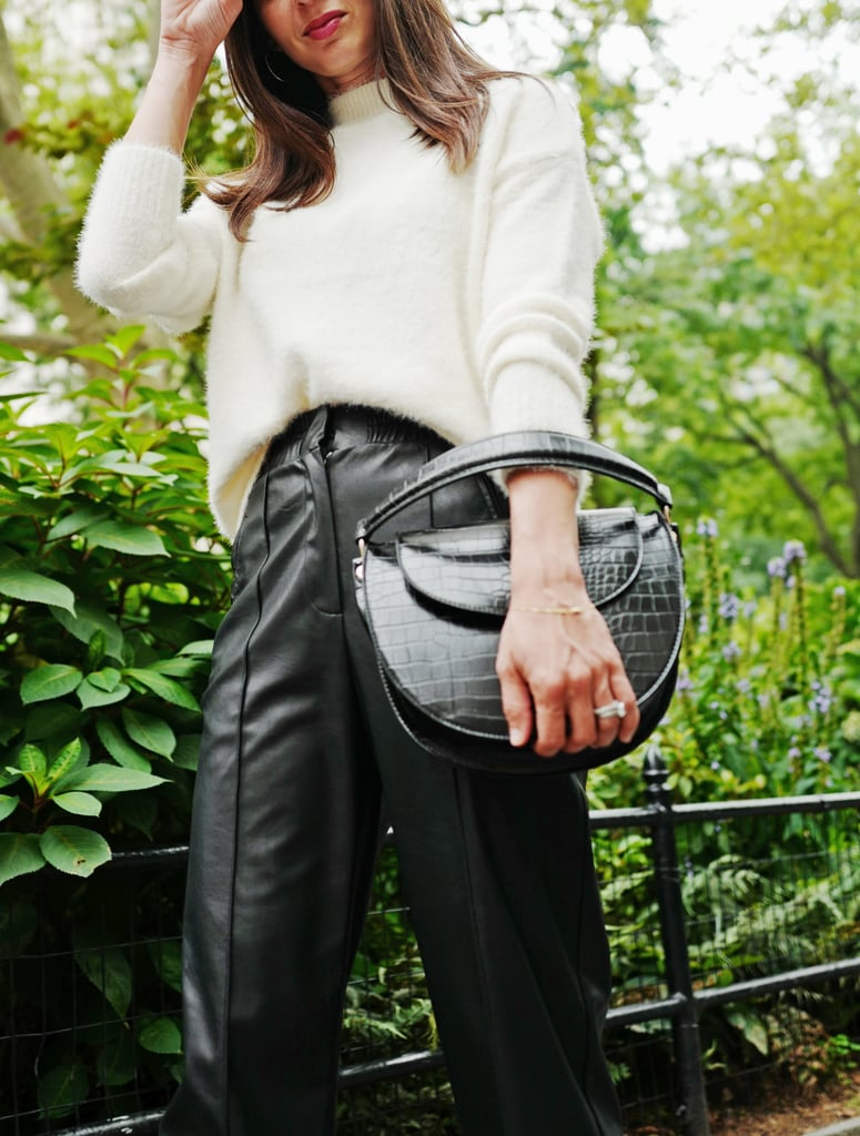 Easy Outfits: A Fuzzy Sweater, Faux-Leather Pants, Mules, and a Croc Bag