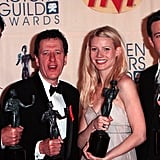 Gwyneth joined Rupert Everett, Geoffrey Rush, and Ben Affleck in the press room after they one awards for Shakespeare in Love at the SAG Awards in March 1999.